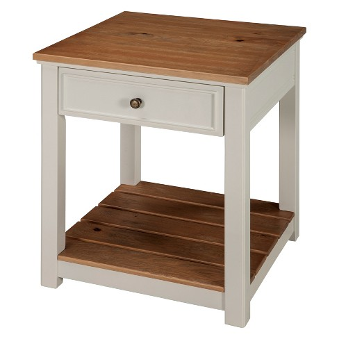 Savannah End Table Ivory With Natural Wood Top Bolton Furniture