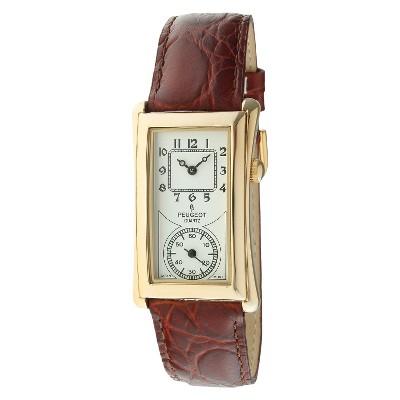 Men's Peugeot Vintage Leather Strap Watch - Brown