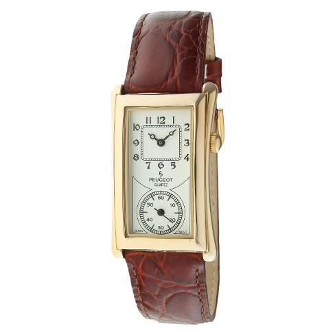 Men's Peugeot® Vintage Leather Strap Watch - Brown - image 1 of 2
