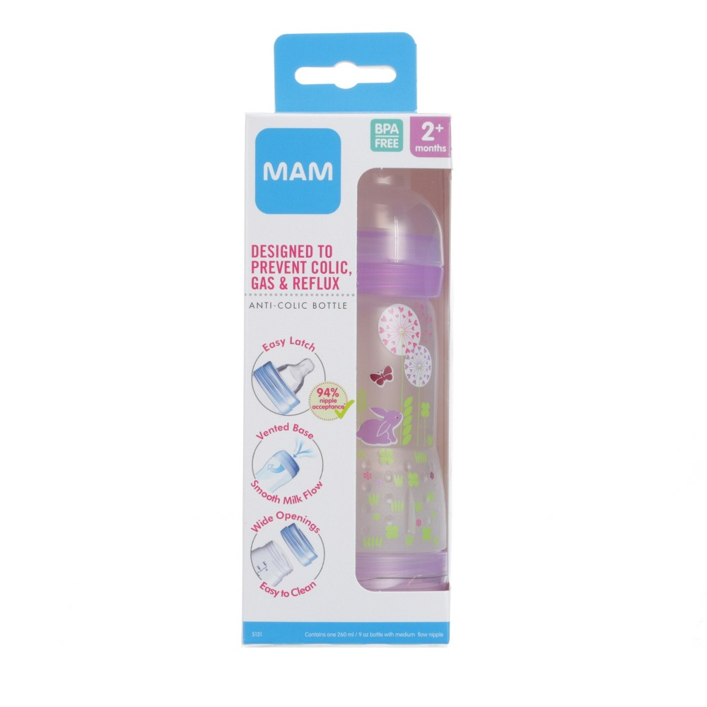 Mam Anti-Colic Bottle - 9oz Pink