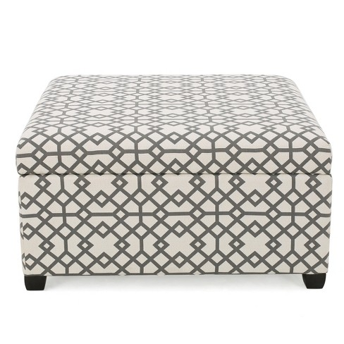 Tempe Storage Ottoman - Gray Geometric - Christopher Knight Home - image 1 of 4