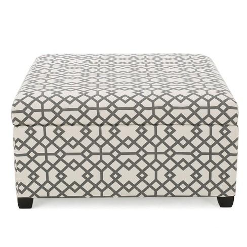 Tempe Storage Ottoman Gray Geometric Christopher