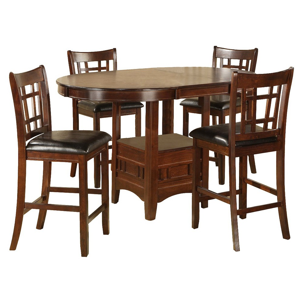5 Piece Empire Counter Height Set Wood/Brown