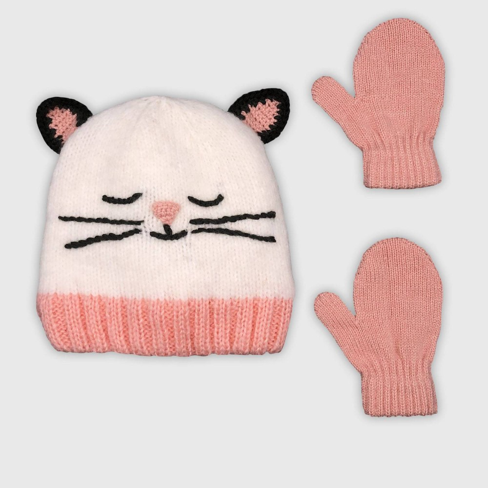 Image of Baby Girls' Hat And Glove Set - Cat & Jack Cream 12-24M, Girl's, Size: Small, Ivory