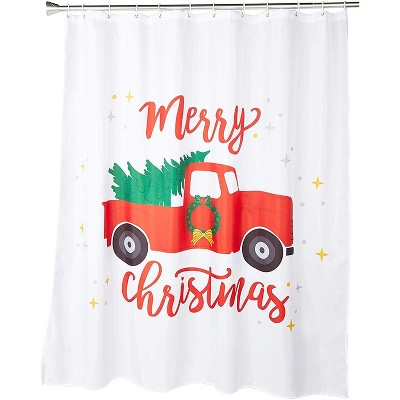 Christmas Shower Curtain with 12 Hooks, Red Pickup Truck (70 x 71 Inches)