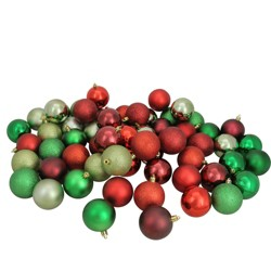 "Northlight 60ct Shatterproof 3-Finish Christmas Ball Ornament Set 2.5"" - Red/Green"