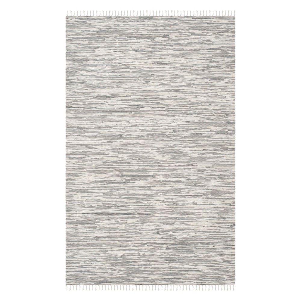 Solid Woven Area Rug Silver