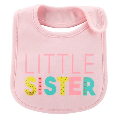 Baby Girls' Little Sister Bib - Just One You® made by carter's Coral OSZ