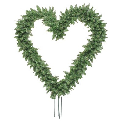 """Northlight 22"""" Unlit Green Pine Artificial Heart Shape with Ground Stakes Christmas Wreath"""