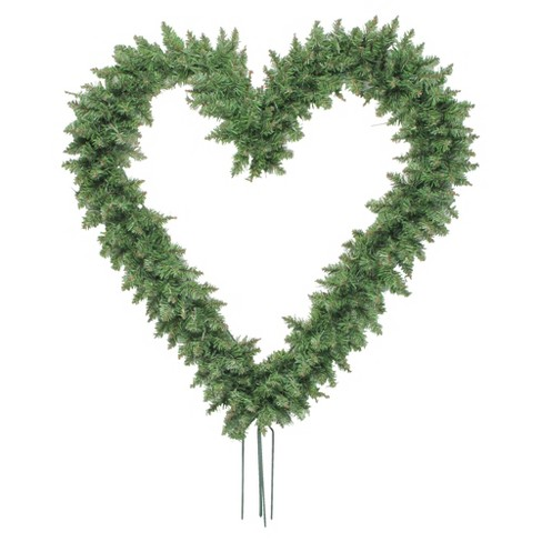 """Northlight 22"""" Unlit Green Pine Artificial Heart Shape with Ground Stakes Christmas Wreath - image 1 of 4"""