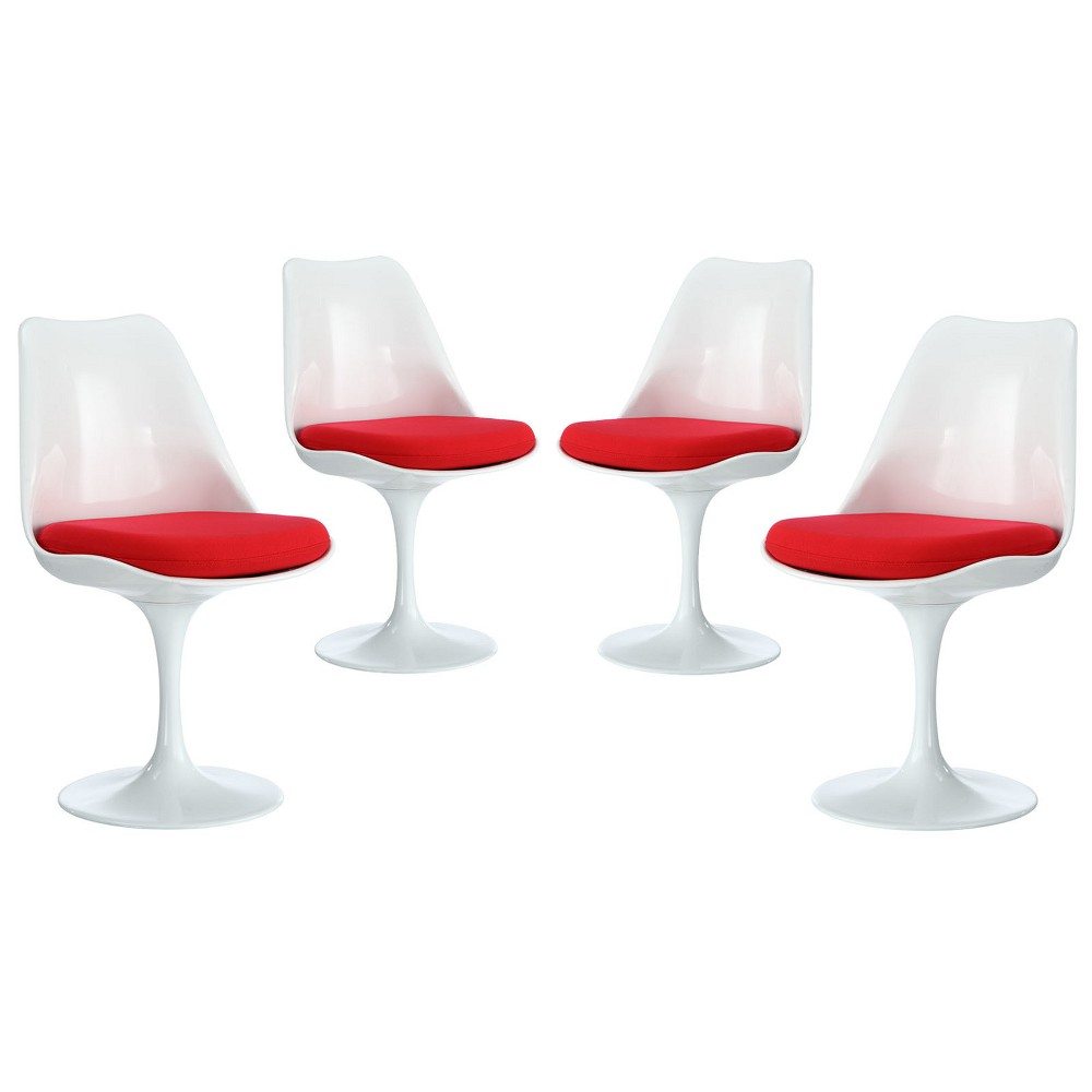 Lippa Dining Side Chair Fabric Set of 4 Red - Modway