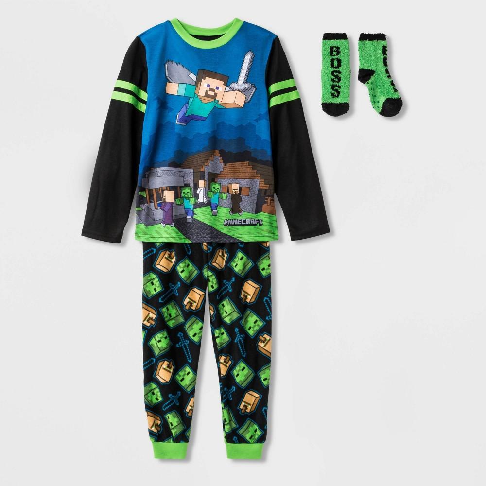Image of Boys' Minecraft 2pc Pajama Set with Socks - Black XS, Boy's