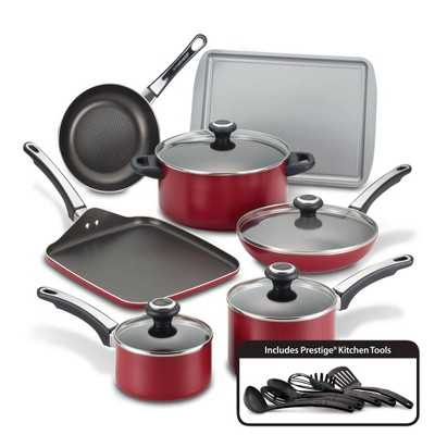 Farberware High Performance 17pc Aluminum Nonstick Cookware Set Red
