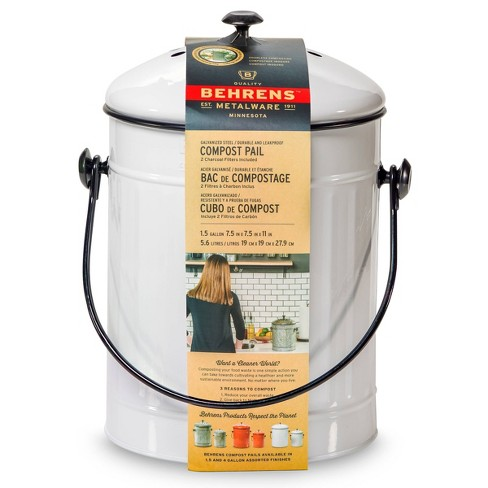 Behrens Small 1.5gal Galvanized Compost Can - White - image 1 of 4