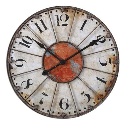 "Ellsworth 29"" Wall Clock Distresses White - Uttermost"