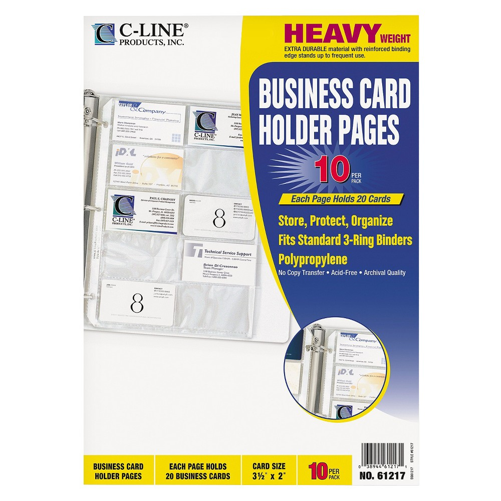 C-Line Business Card Binder Pages, Holds 20 Cards, 8 1/8 x 11 1/4, Clear, 10/Pack Heavyweight polypropylene pages with reinforced binding edges hold your important business cards for easy reference while at the office or on the road. Organize your business cards with this holder and keep contact information accessible. Pages fit standard three-ring binders. Each page can hold up to 20 business cards and has convenient side-loading sleeves. Card File Refills Type: Business Card Binder Page; Card Size (H x W): 2  x 3 1/2 ; For Card Size: 2  x 3 1/2 ; Card Capacity: 200. Color: Clear.