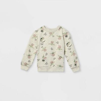Toddler Boys' Star Wars Baby Yoda Fleece Crew Neck Pullover - Cream