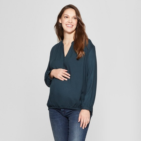 Maternity Long Sleeve Split Neck Shirred Top - Isabel Maternity by Ingrid & Isabel™ Blue - image 1 of 2