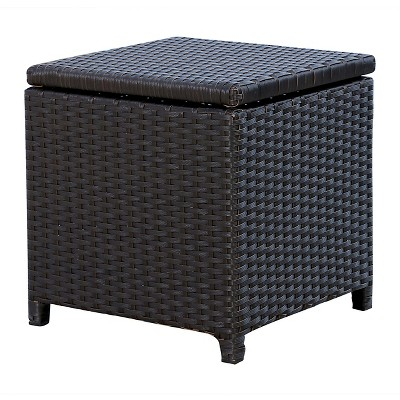 Gentil Newport Outdoor Wicker Storage Ottoman   Espresso   Abbyson Living