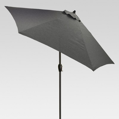 9' Round Patio Umbrella - Charcoal - Black Pole - Threshold™