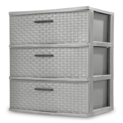 Sterilite Wide 3 Drawer Weave Tower Cement Gray