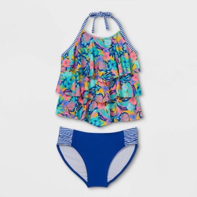 Girls' Tropical Print Tiered Ruffle Tankini Set - Cat & Jack™