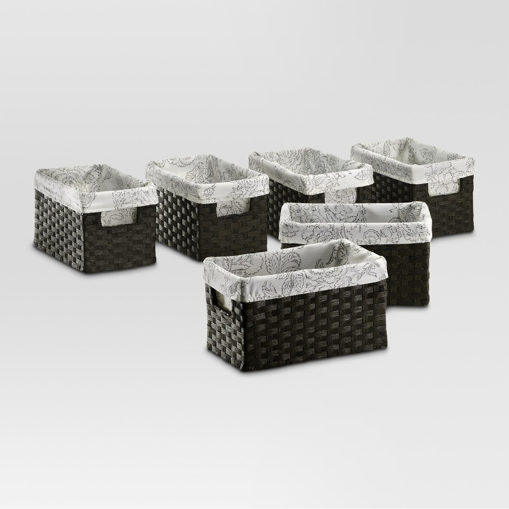 Small Lined Milk Crate - Dark Brown Weave - Set of 6 - Threshold