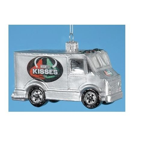 Hershey Kisses Christmas Commercial.Kurt S Adler 3 5 Chocolate Shop Handcrafted Glass Hershey S Kisses Truck Christmas Ornament Silver Red