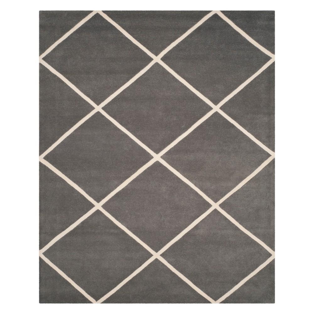 8'X10' Geometric Tufted Area Rug Dark Gray/Ivory - Safavieh