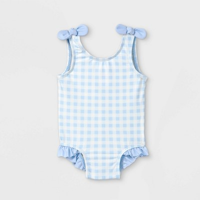Baby Girls' Gingham Check One Piece Swimsuit - Cat & Jack™ Blue