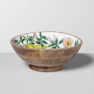 Mango Wood Painted Serving Bowl Canary 33oz Green - Opalhouse™