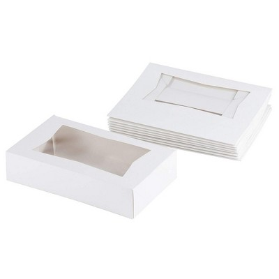 Cake Box with Display Window, Pastry Bakery Box (8 x 5.5 x 2 In, White, 10-Pk)
