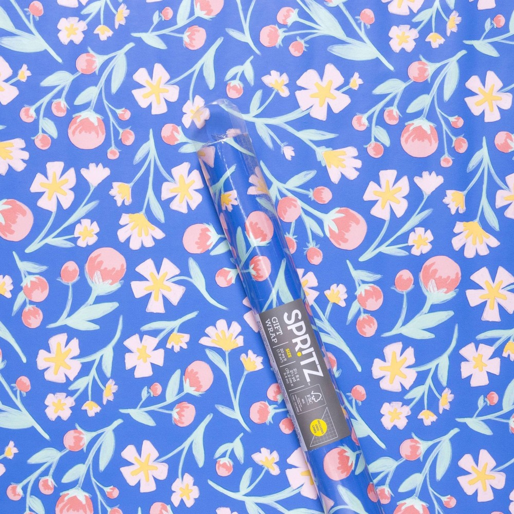 Image of Floral Printed Roll Wrap Blue - Spritz