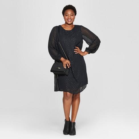 3cdadd70264 Women's Plus Size Polka Dot Tie Back Dress - Ava & Viv™ Black