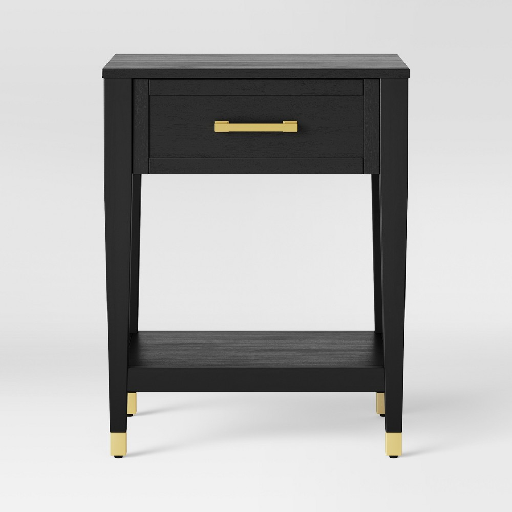 Duxbury Black End Table with Gold Feet - Threshold