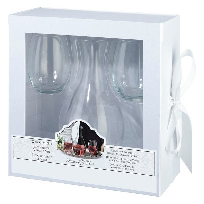 Decanter & 2 Stemless Wine Glasses