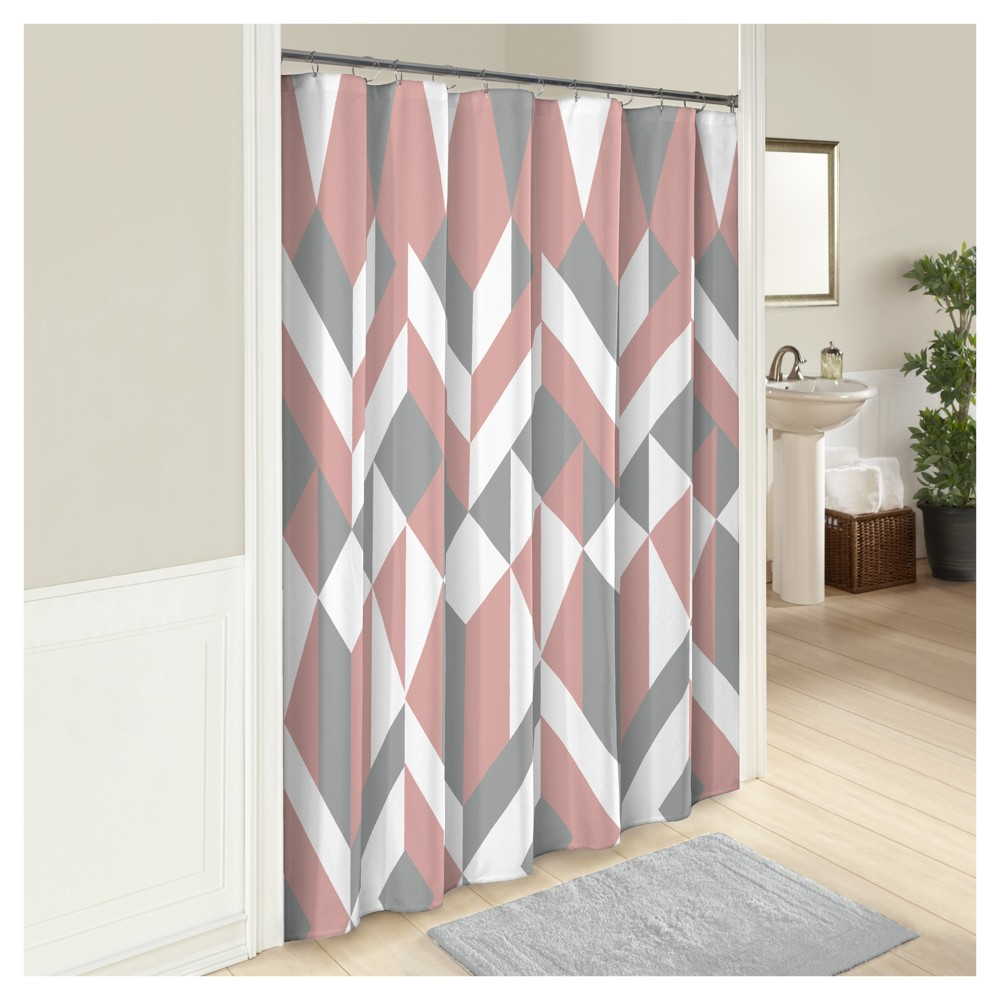 Image of Lena Geometric Shower Curtain - Marble Hill, Pink
