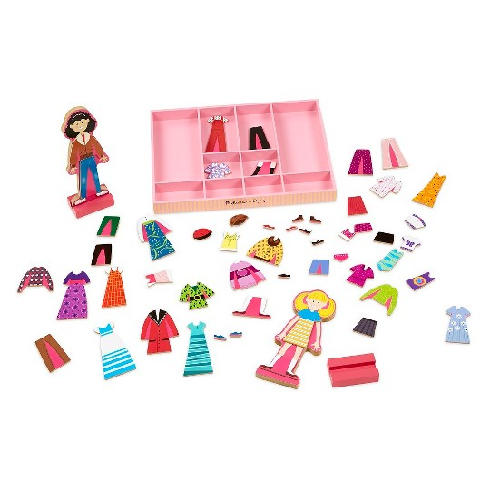 Melissa & Doug Abby and Emma Deluxe Magnetic Wooden Dress-Up Dolls Play Set (55+pc) image number null