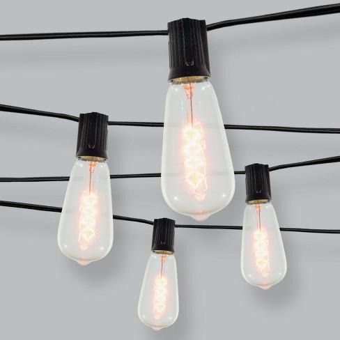 10ct Spiral Filament Outdoor String Lights Black Wire Threshold Target