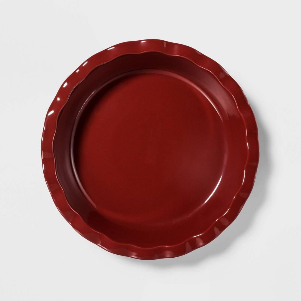 """Image of """"10.4"""""""" Stoneware Round Pie Dish Red - Threshold"""""""