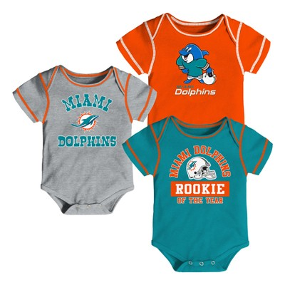 Miami Dolphins Boys' Newest Fan 3pk Bodysuit Set 6-9 M