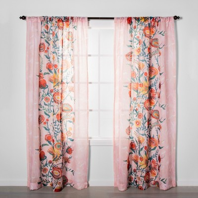 Floral Daisy Light Filtering Curtain Panel Pink - Opalhouse™