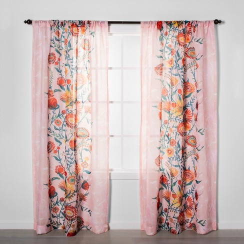 Floral Daisy Light Filtering Curtain Panels Pink - Opalhouse™ - image 1 of 5