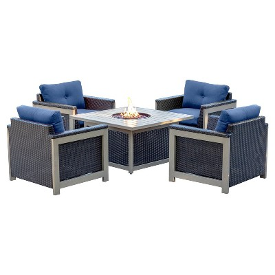 Montana 5pc All-Weather Wicker Patio Chat Set w/ Fire Pit Table - Navy Blue - Hanover