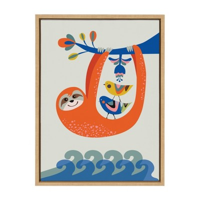 """18"""" x 24"""" Sylvie Little Sloth Framed Canvas Wall Art by Rachel Lee Natural - Kate and Laurel"""