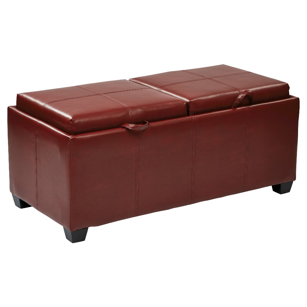 Inspired By Bassett Bedford Storage Ottoman With Dual Trays And Seats - Red