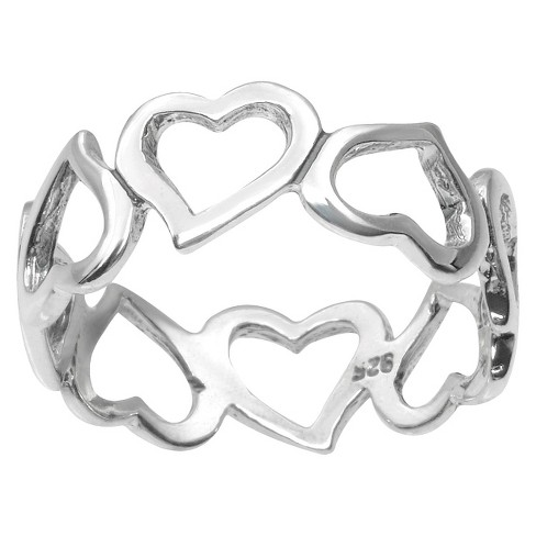 Women's Tressa Collection Chain of Hearts Ring in Sterling Silver - image 1 of 3