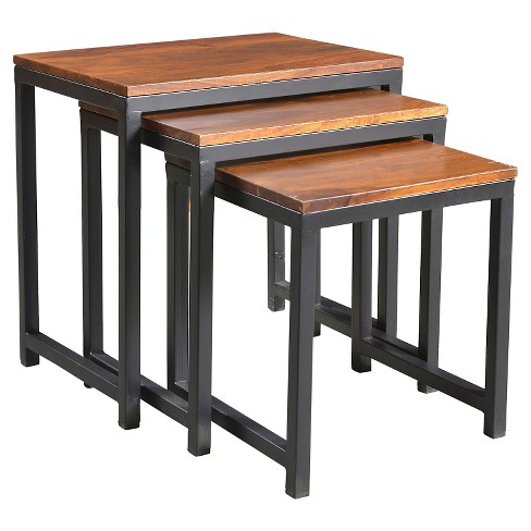 3pc Reclaimed Seesham Wood And Iron Nesting Table Set Natural Timber