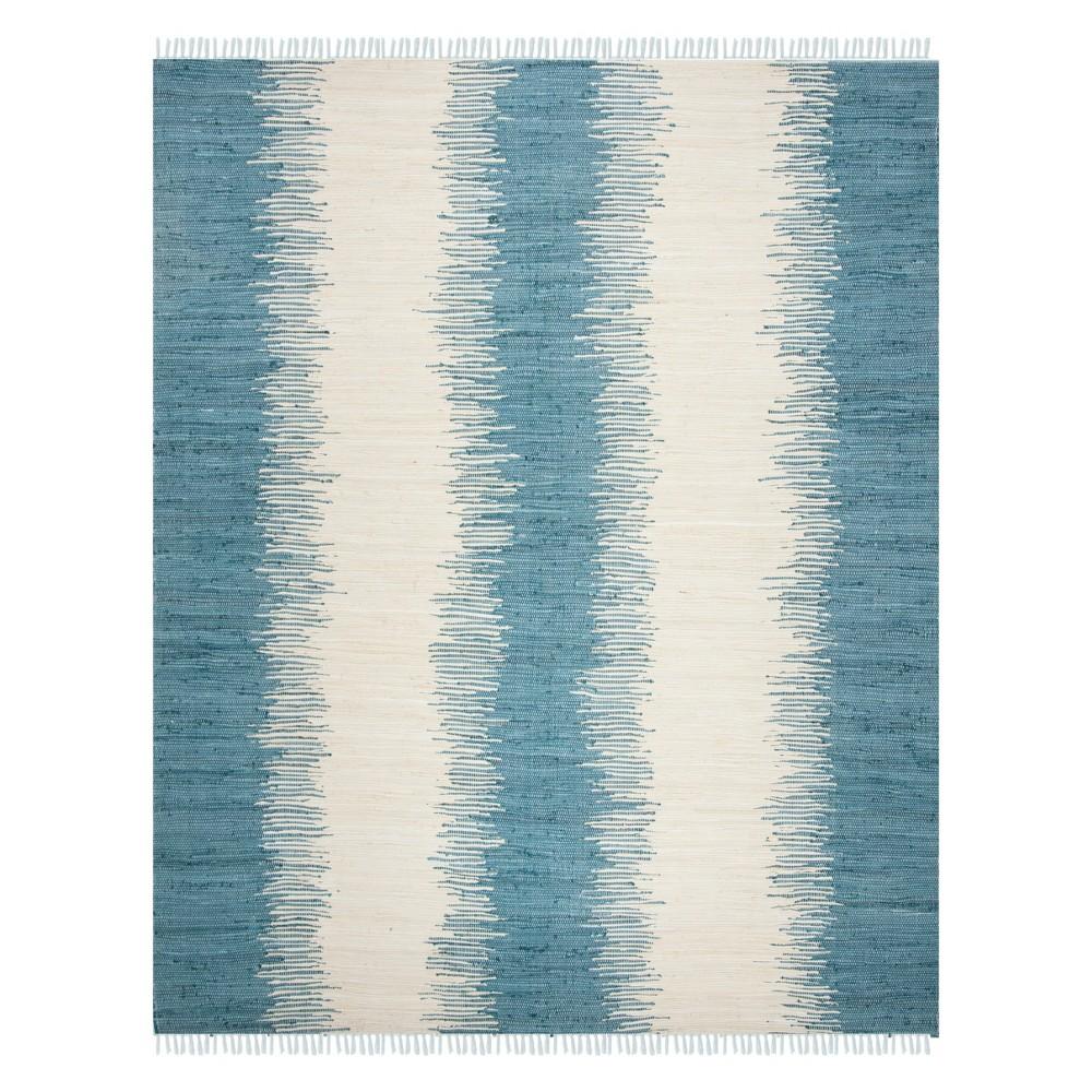 Stripe Woven Area Rug Blue