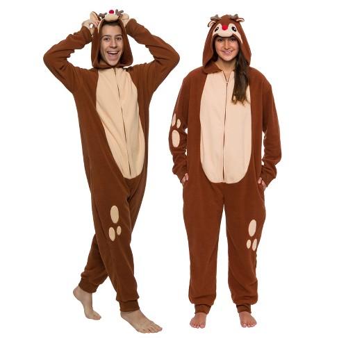 FUNZIEZ! - Holiday Reindeer Slim Fit Adult Unisex Novelty Union Suit - image 1 of 4